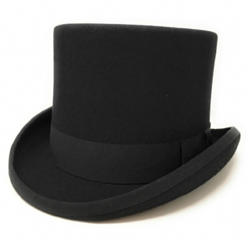 "Tall Top Hat 6"" - Wool Felt - Lined - Cotswold Country Hats"